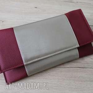 kopertówka - bordowa i środek srebrno-złoty, elegancka, nowoczesna, prezent