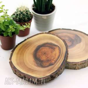 handmade podkładki drewniana podkładka pod kubek - orzech włoski