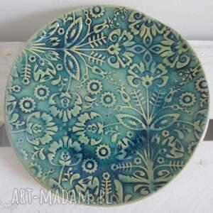 folkowy dekoracyjny mały talerzyk, dekoracyjny, talerzyk-ceramiczny, folkowa
