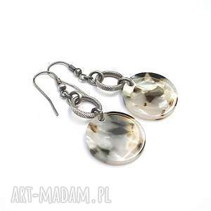 perle -mosaic - kolczyki, srebro, oksydowane, żywica, koła, perłowe