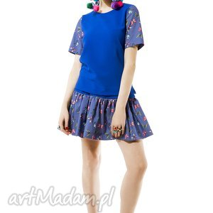 sukienki chabrowy komplet w motylki, spódnica, bluzka, chabrowy