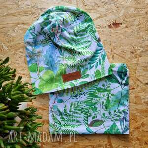 wiosenny zestaw w rośliny czapka i komin rosliny, kolorowy, prezent