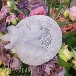 ozdoby do włosów biały toczek, fascynator, ślubny, jedwab, ślub