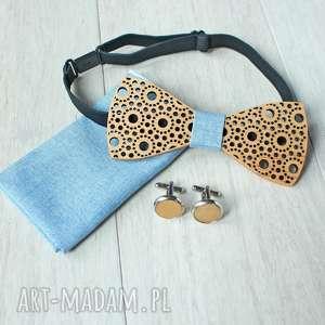 hand-made muchy i muszki zestaw drewniana muszka poszetka spinki spots błękit