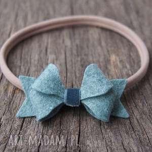 butterfly bow opaska do włosów morska mgła, opaska, elastyczna, święta, filc