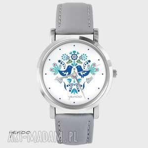 zegarek, bransoletka - folkowe ptaszki, niebieskie szary, skórzany, zegarek