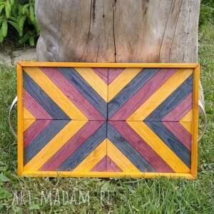 taca drewniana /3/, taca, ręcznie, robiona, drewno, drewniana