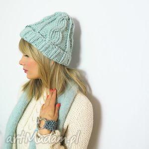 miętowa ręcznie robiona czapka w warkocze - zima, snowboard, narty, pastele