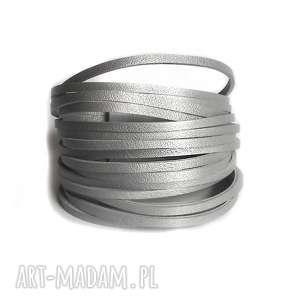 bransoletka skórzana srebrna matowa, aluminium