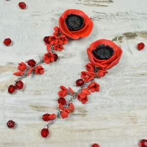 długie, eleganckie kolczyki czerwone maki, długie kolczyki