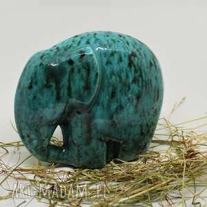 figurki słon ceramiczny na szczęście 13 cm, ceramika, słoń niebieski, wyjątkowy