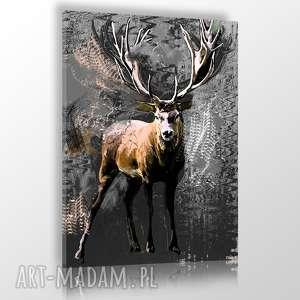 jeleń młody obraz na płótnie 60x90cm, jelen, skandynawski, grafika
