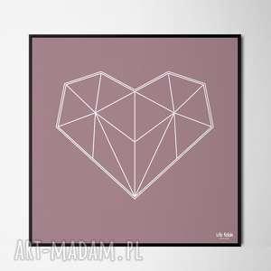 Serce outline rose, miłość, lowpoly, obraz, plakat, dekoracje