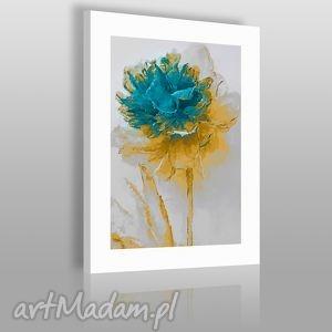 handmade obrazy obraz na płótnie - kwiat turkus - 50x70 cm (02002)