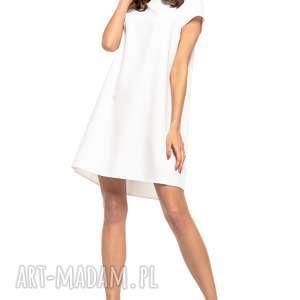 sukienka z kontrafałdą na plecach, t261, biała, sukienka, prosta, dziewczęca