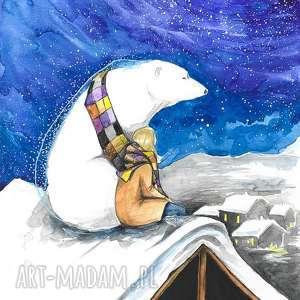 CIEPŁY SZALIK akwarela artystki Adriany Laube - obraz na papierze A3, bajkowa