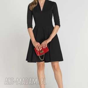 Sukienka rozkloszowana, SUK147 czarny, casual, dekold, elegancka