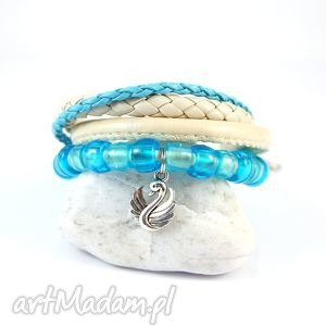 bransoletka - błękitny łabędź rzemienie, koraliki, bransoletka, łabędź, rzemienie