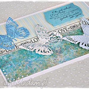 Ślubne motyle - kartka dla młodej pary - kartka, ślub, ślubna, motyle