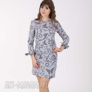 ANA sukienka z wiązaniem przy rękawach, etno szare., sukienka, etno, wiązany-rękaw