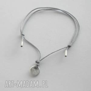 okrąg bransoletka, srebro, sznurek, zmatowione