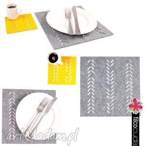 serwetki filcowe warkocz 4 szt, serwetki, filcowe, podkładki, deserowe, filc