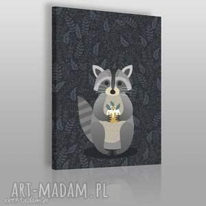 obraz na płótnie - zwierzĘ szop - 50x70 cm 69003 - zwierzę, zwierzak