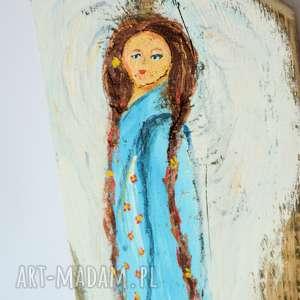 obraz na drewnie - anioł opiekuńczy