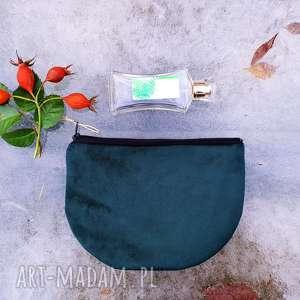 handmade kosmetyczki kosmetyczka półksiężyc butelkowa zieleń aksamit