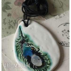 wisior pawie oko ii, ceramika, wisior, pióro, pod choinkę prezenty
