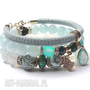 blue and emerald /01 06 17/ - set, jadeity, agaty, skóra, rzemień, shamballa, kwarc