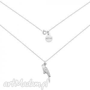 srebrny naszyjnik z papugą - minimalistyczny, zawieszka kobiecy, modny