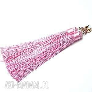 maxi boho tulip /pink/ 16 02 18 - kolczyki, chwosty, boho, długie, kika, cyrkonie
