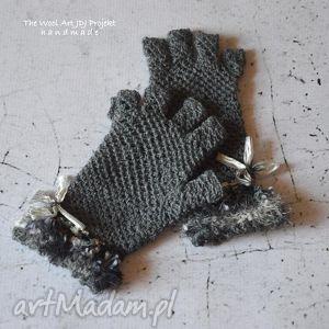 stylowe mitenki - rękawiczki, mitenki, rękodzieło, wełniane