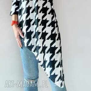 asymetryczna tunika oversize, tunika, pepitka, długi sweter, asymetryczna