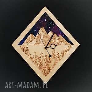 zegary zegar ścienny drewno i tkanina geometryczne góry, drewno