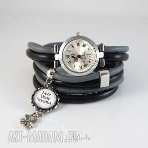ręczne wykonanie zegarki zegarek, bransoletka - live your dreams - owijany, rzemienie