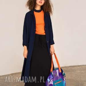 fioletowa torba damska na ramiĘ z folii z kieszonkĄ - torba-damska, duża-torba