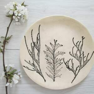 Roślinny talerzyk na wszystko ceramika ana biżuterię, naturalne