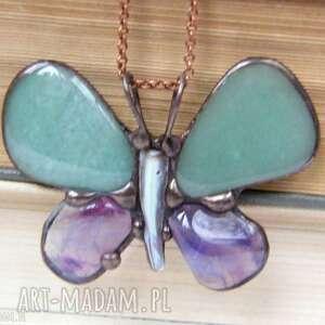 Naszyjnik: motyl zielono-fioletowy naszyjniki witrazka naszyjnik