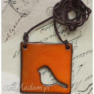 ręcznie robione wisiorki wisior pomarańczowy ptaszek