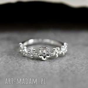 925 srebrny pierścionek kwiaty - kwiaty, motyw, natura, srebro, srebrny, elegacki