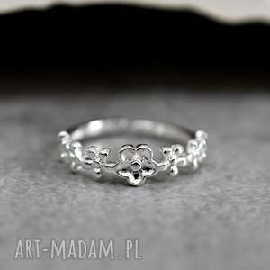 925 srebrny pierścionek kwiaty, motyw, natura, srebro, srebrny, elegacki