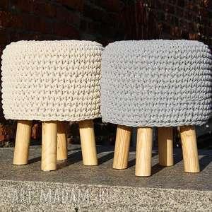 Pufa Beżowa Szydełkowa - 36 cm, puf, szydełko, stołek, taboret, siedzisko, hocker