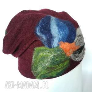 czapka wełniana damska bordo z kwiatem, wełna, narty, czapka, etno, zima, ciepła