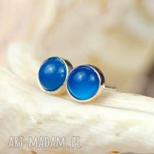 kolczyki sztyfty z niebieskimi agatami a309, srebrne, wkrętki agatem