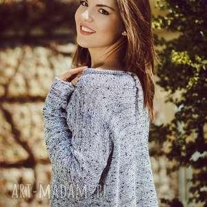 Sweter luźny krój, sweter, luźny-krój, oversize, bawełna, fantazyjna-nitka