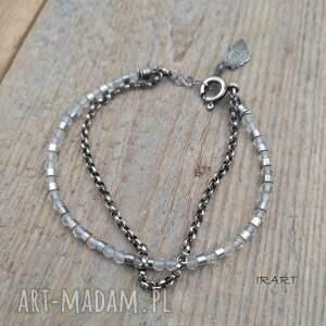 kryształ górski z piórkiem - bransoletka 463, górski, kwarc, srebro 925