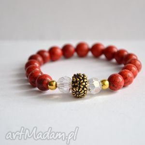 bracelet by sis czerwone kamienie ze złotem, howlit, kamienie, kryształy, złoto
