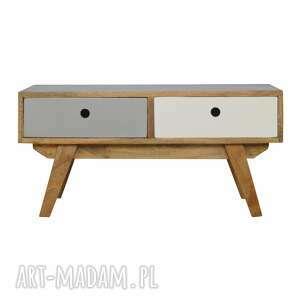 stoły stolik kawowy ława z szufladami styl skandynawski drewno, lite drewno